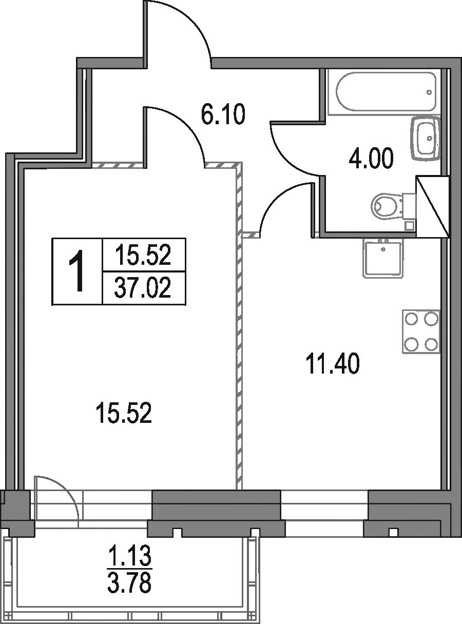 1-к.кв, 37.02 м²