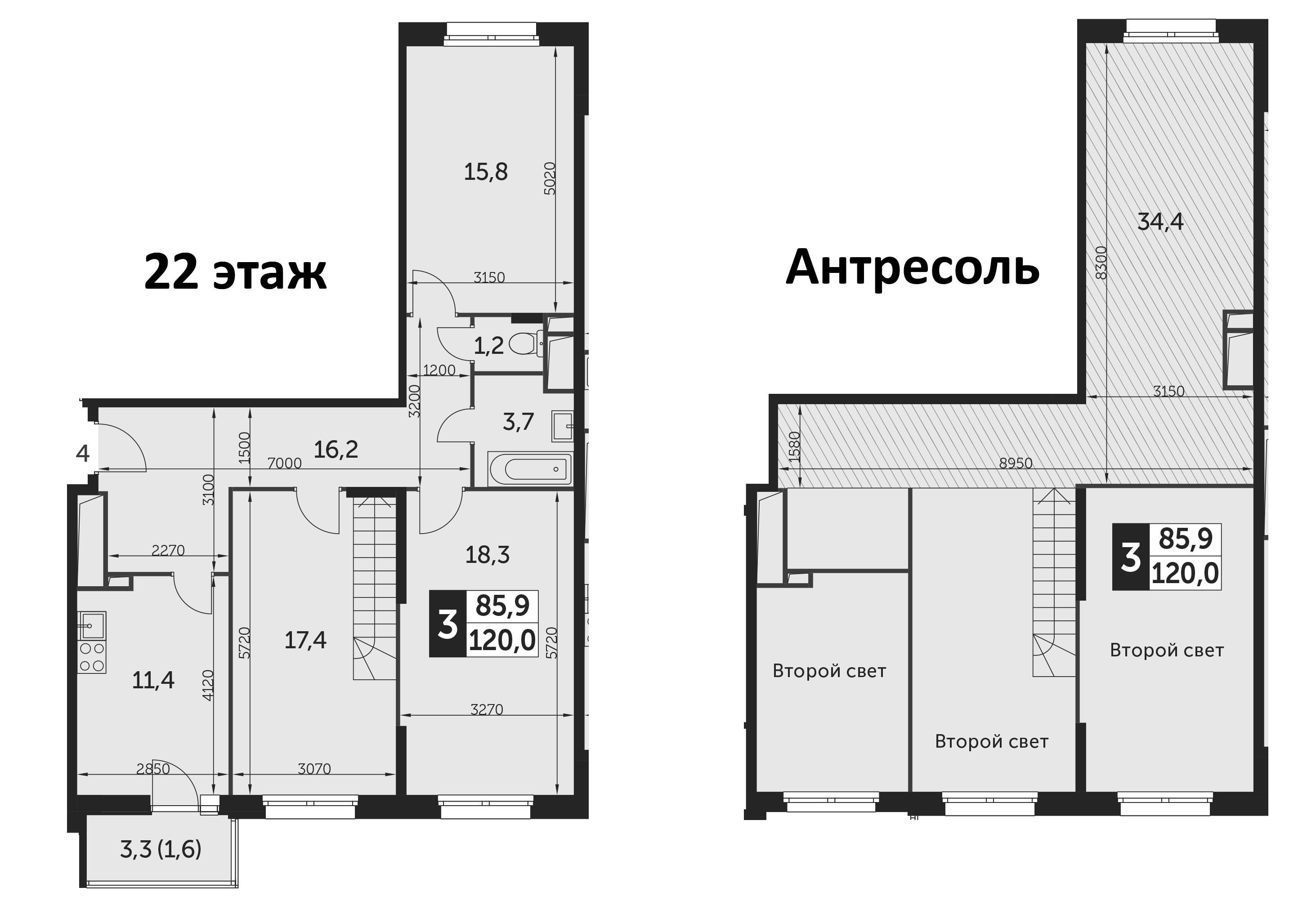 3-комнатная, 120 м²– 2