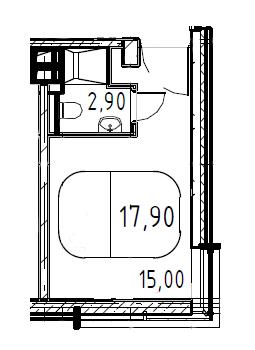 Студия, 17.9 м²