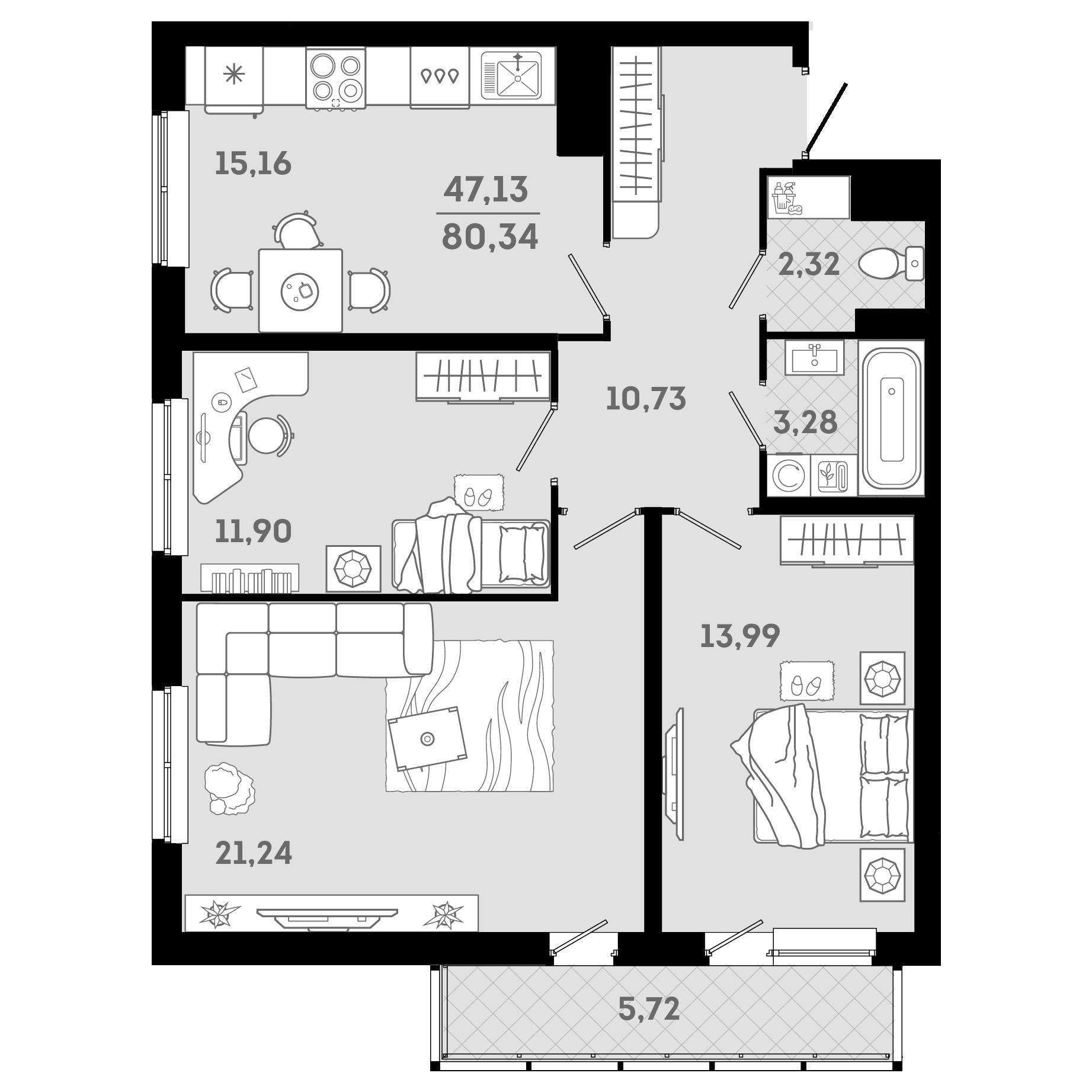 4Е-к.кв, 80.34 м²