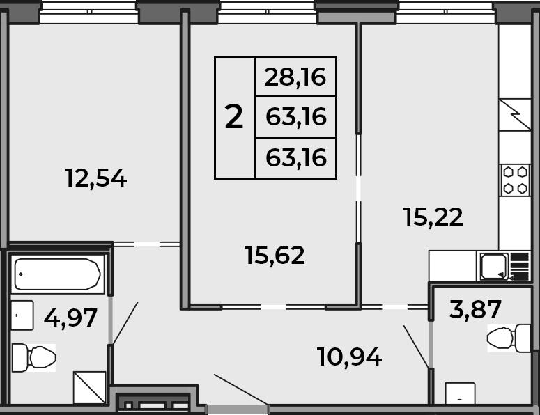 3Е-к.кв, 63.16 м²