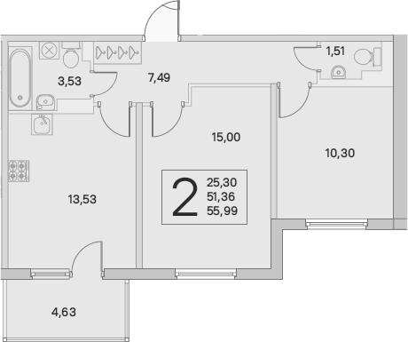2-комнатная, 52.75 м²– 2