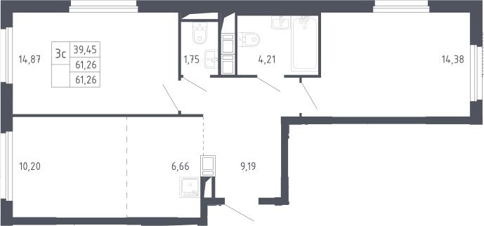 3Е-комнатная, 61.26 м²– 2