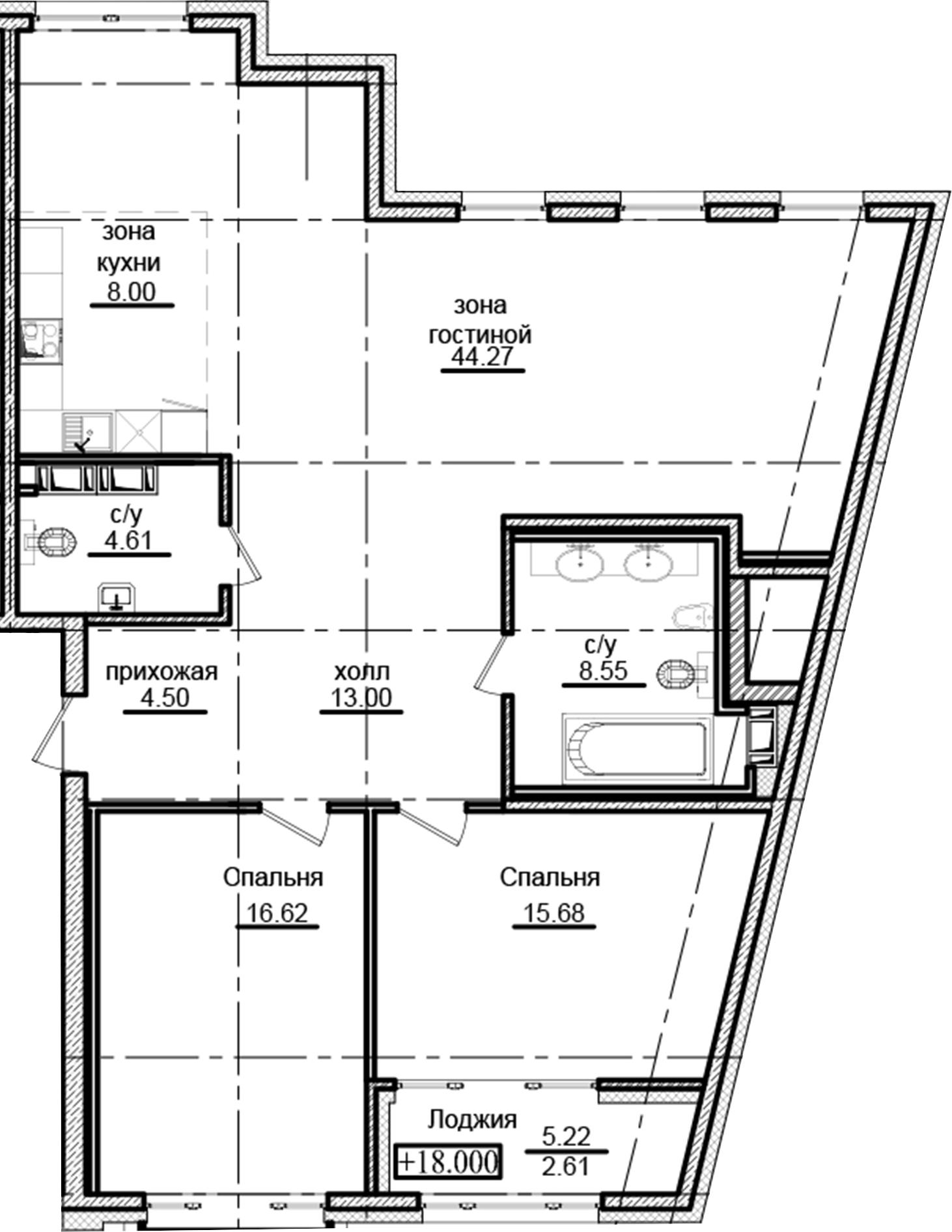 3Е-комнатная, 117.84 м²– 2
