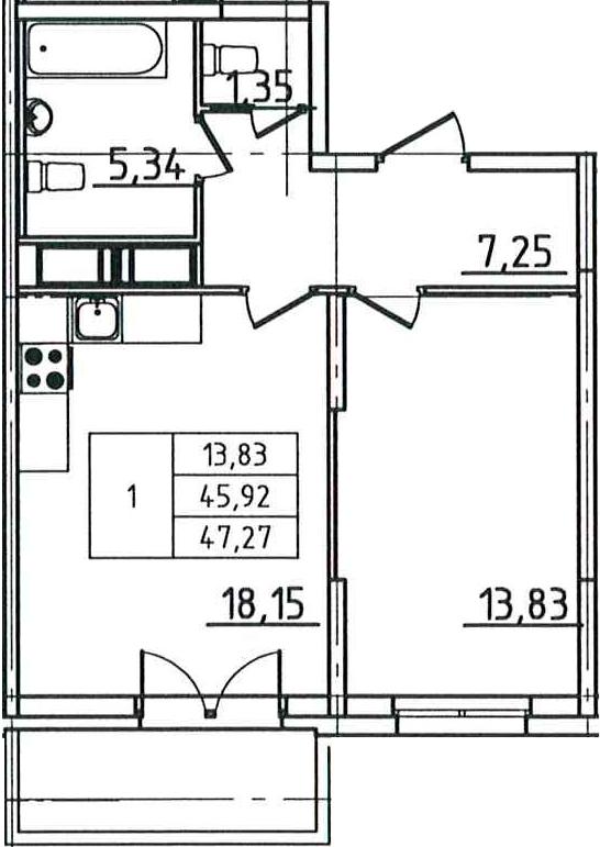 2Е-к.кв, 47.27 м²