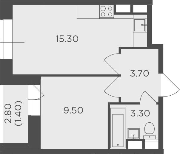 1-к.кв, 33.2 м², 8 этаж
