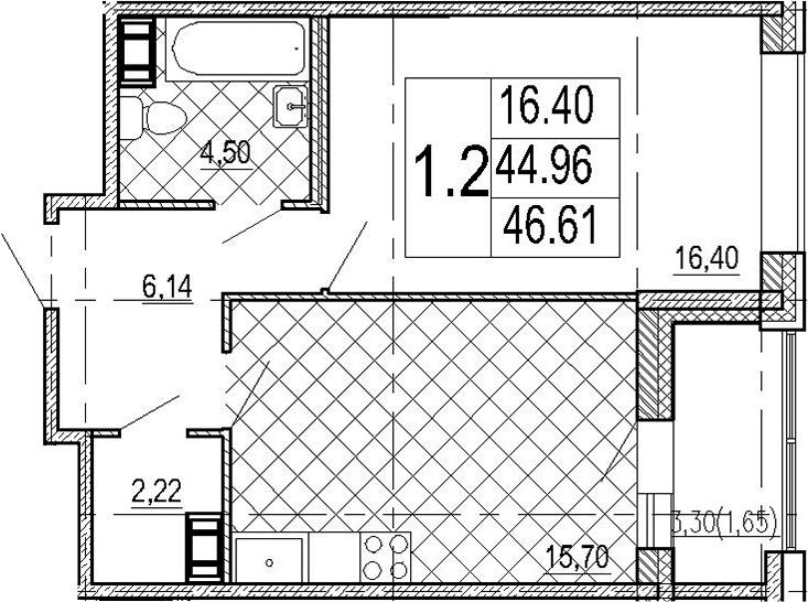 1-к.кв, 48.26 м²