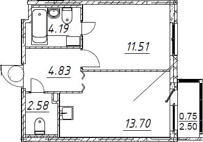 2Е-к.кв, 37.56 м²