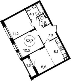 3Е-к.кв, 52.7 м², 3 этаж
