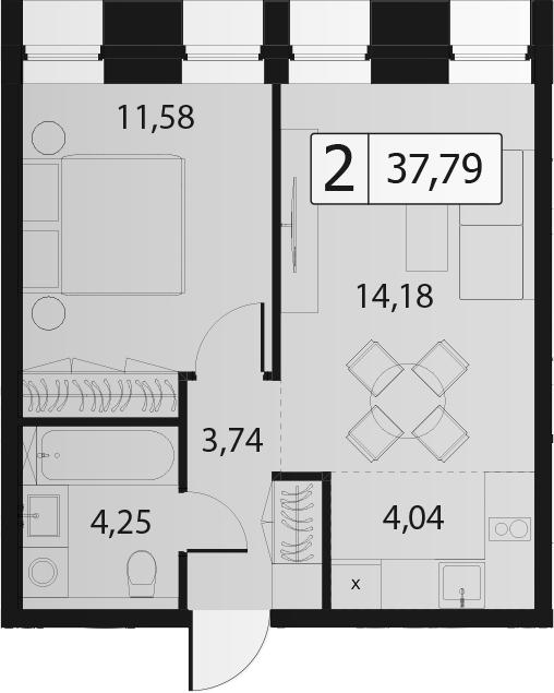 2Е-комнатная, 37.79 м²– 2