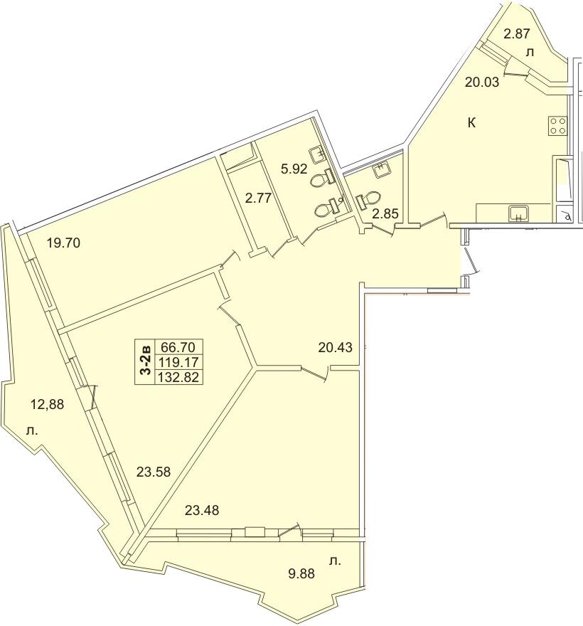 4Е-к.кв, 127 м², 21 этаж