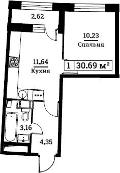 1-к.кв, 30.69 м², 3 этаж