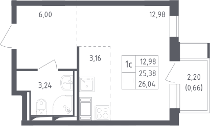 Студия, 26.04 м²