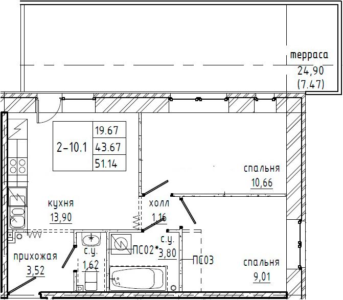 2-к.кв, 68.57 м²