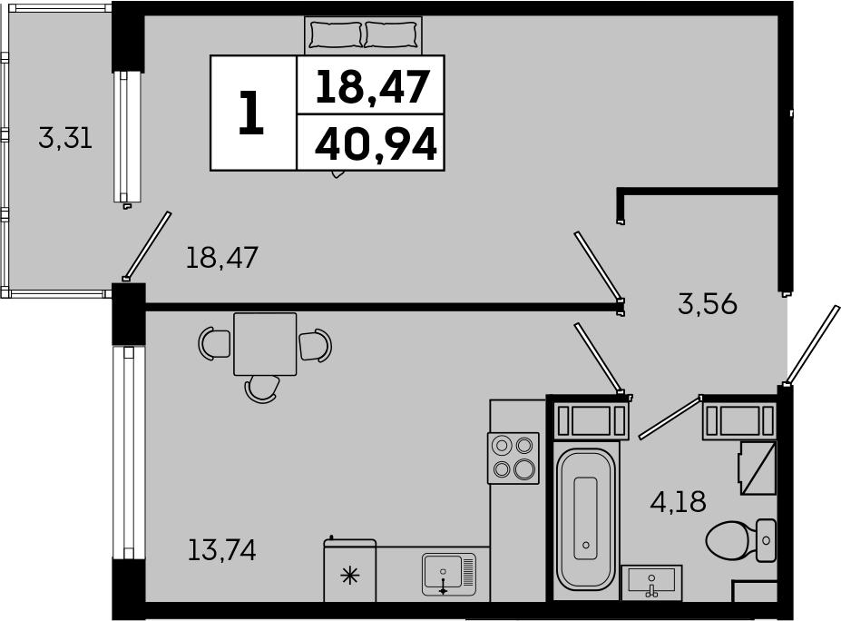 1-комнатная, 40.94 м²– 2