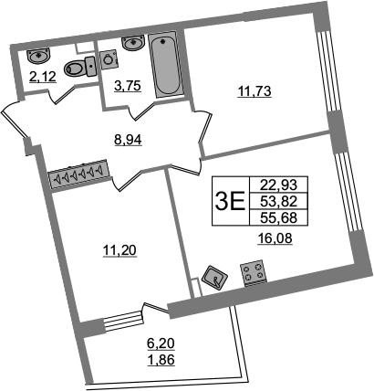 3-к.кв (евро), 60.02 м²