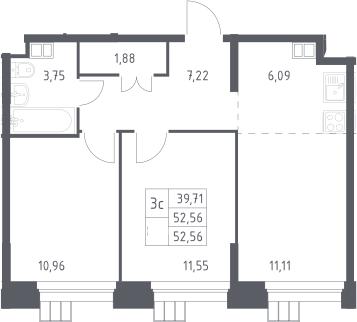 3Е-к.кв, 52.56 м², 15 этаж