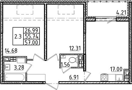3Е-к.кв, 55.74 м²