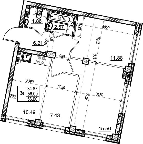 3Е-к.кв, 56 м², 3 этаж