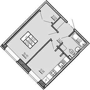 1-комнатная, 32.54 м²– 2