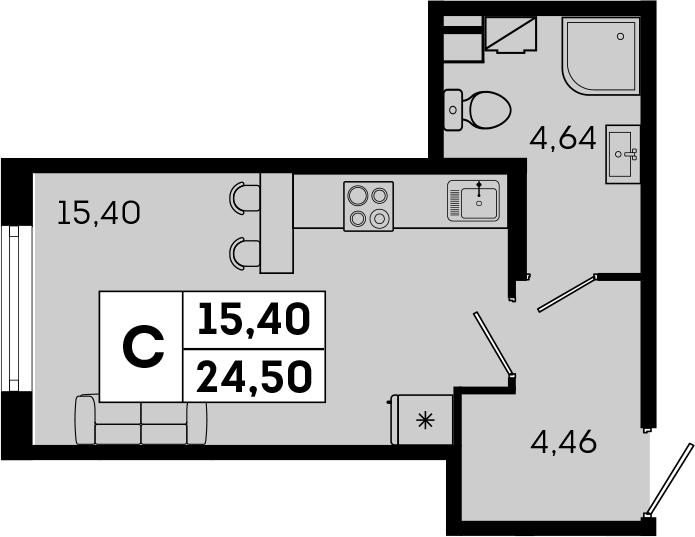 Студия, 24.5 м²