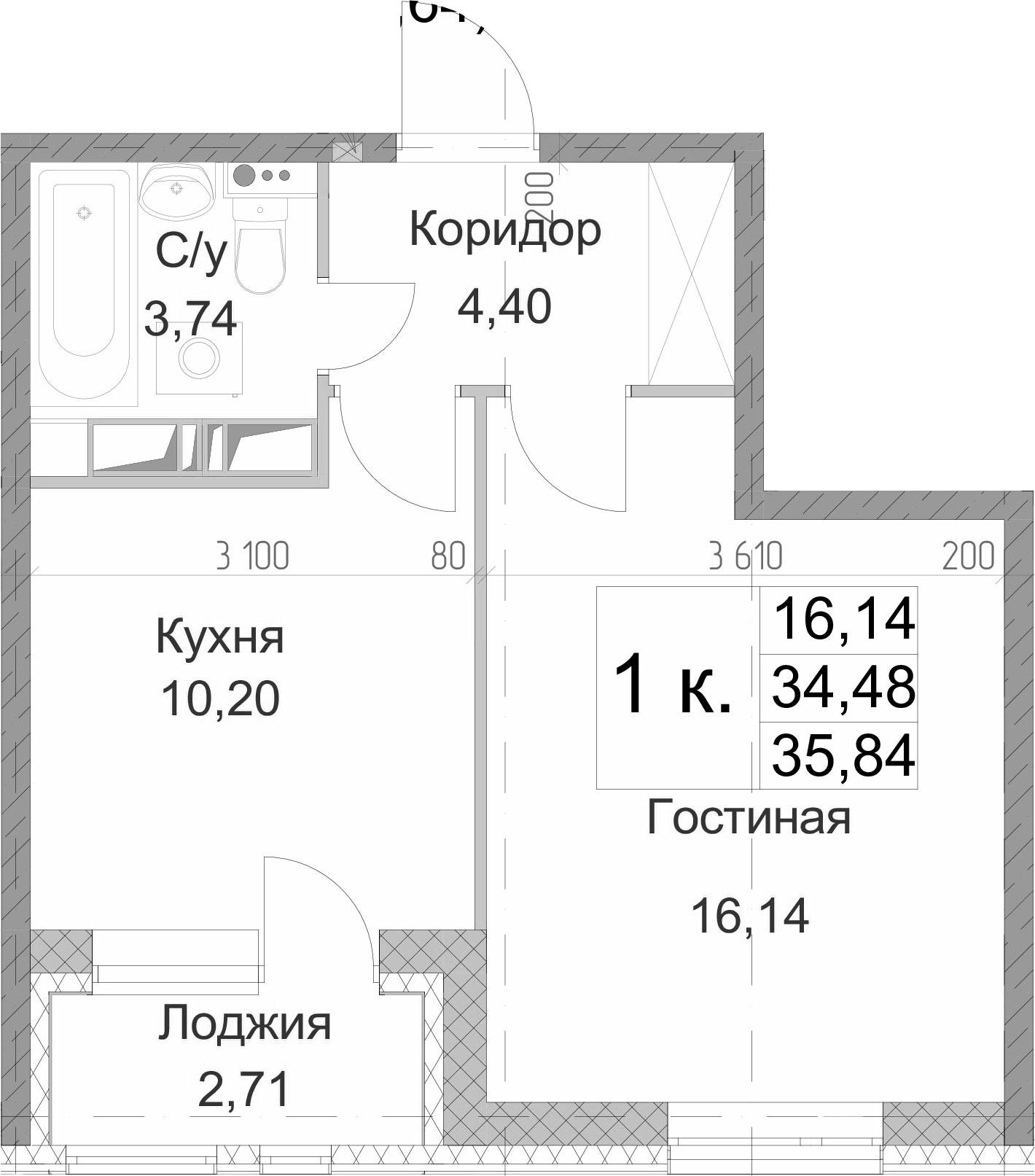 1-к.кв, 37.19 м²