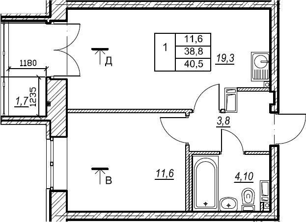 1-к.кв, 40.5 м², 5 этаж