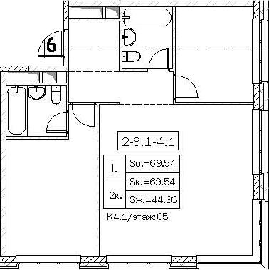 Свободная планировка, 69.54 м²– 2
