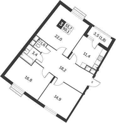 3-к.кв, 90.1 м², 12 этаж