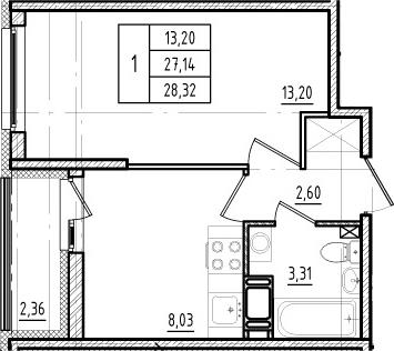 1-к.кв, 27.14 м²