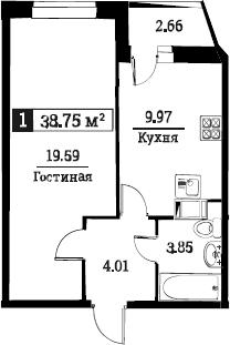 1-к.кв, 38.75 м²