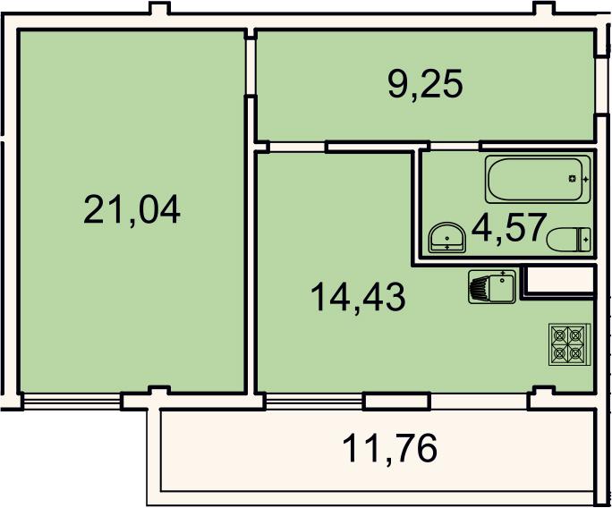 1-к.кв, 52.8 м², 4 этаж