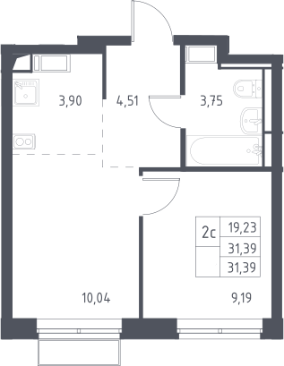 2Е-комнатная, 31.39 м²– 2