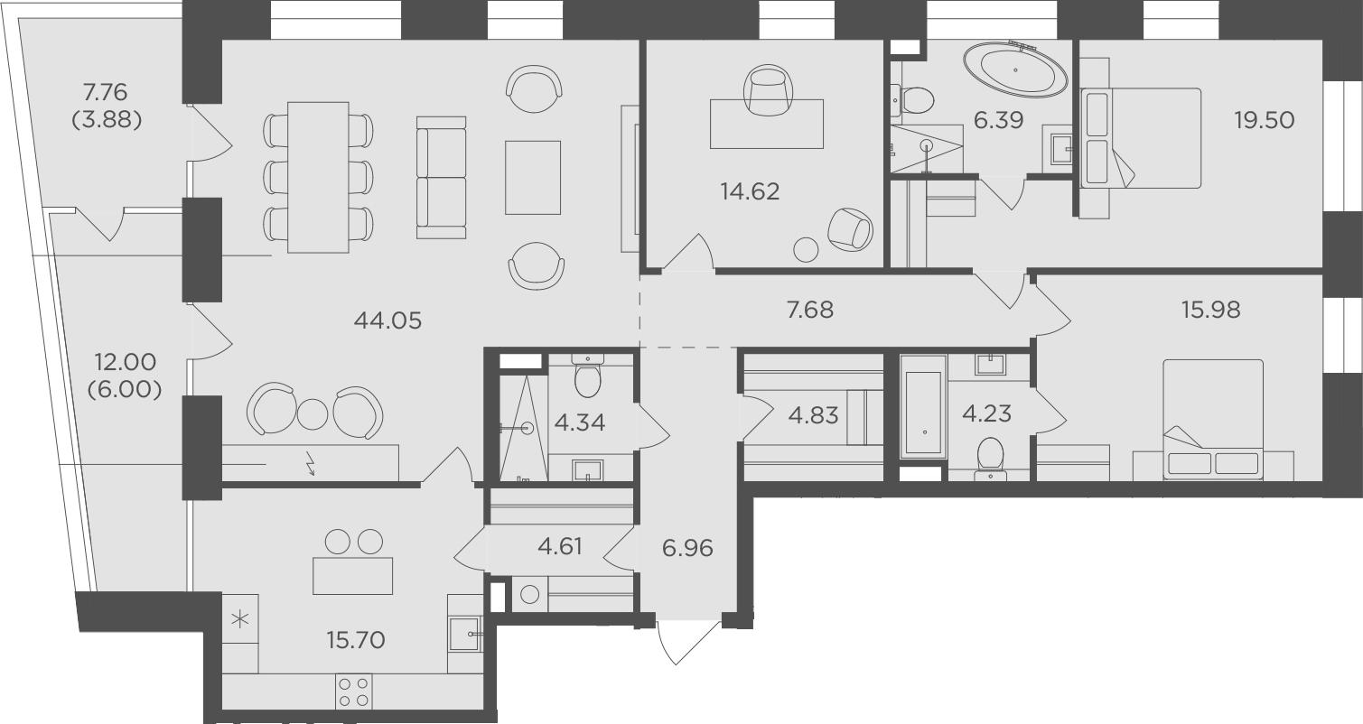 4-к.кв, 158.77 м², 13 этаж