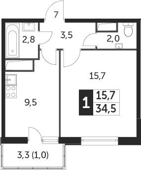 1-комнатная, 34.1 м²– 2