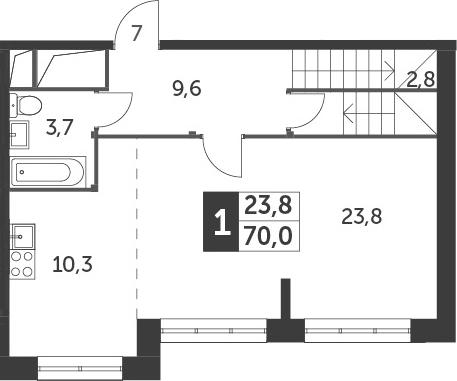 2-к.кв (евро), 72.8 м²