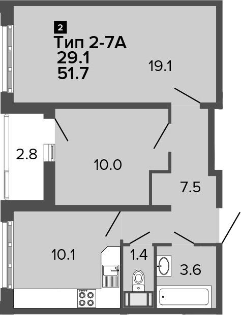 2-к.кв, 51.7 м², от 10 этажа