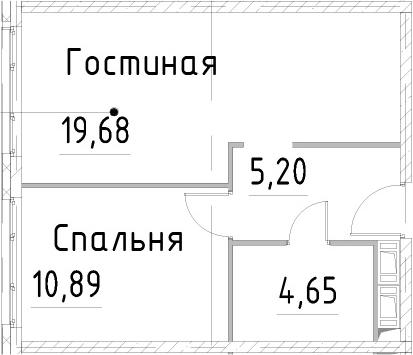 2Е-к.кв, 40.41 м², 21 этаж