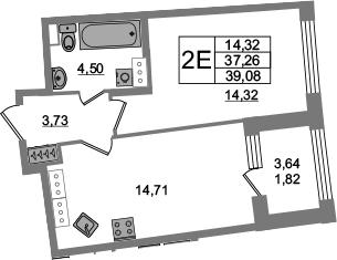 2Е-комнатная квартира, 37.26 м², 17 этаж – Планировка