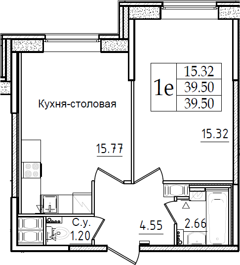 2Е-к.кв, 39.5 м²
