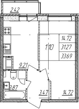 1-комнатная квартира, 31.27 м², 2 этаж – Планировка