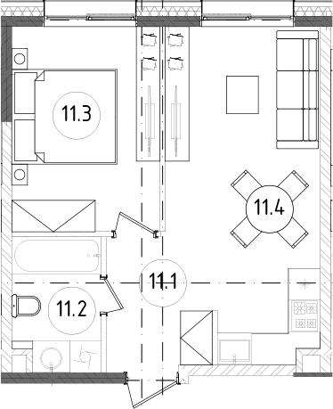 2Е-комнатная, 36.86 м²– 2