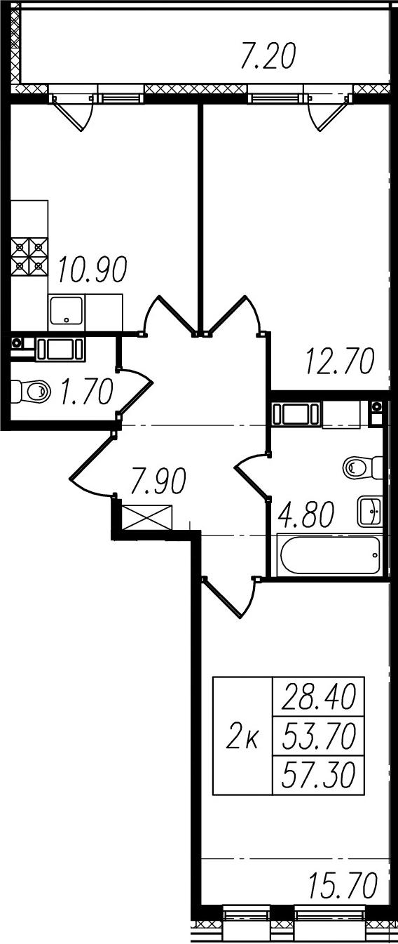 2-к.кв, 53.7 м², 10 этаж