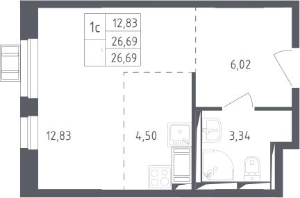 Студия, 26.69 м², 13 этаж – Планировка