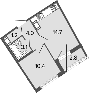 2Е-комнатная, 33.4 м²– 2