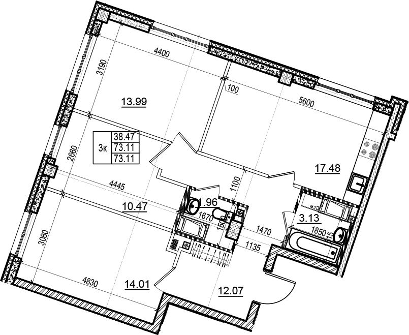 4Е-комнатная, 73.11 м²– 2