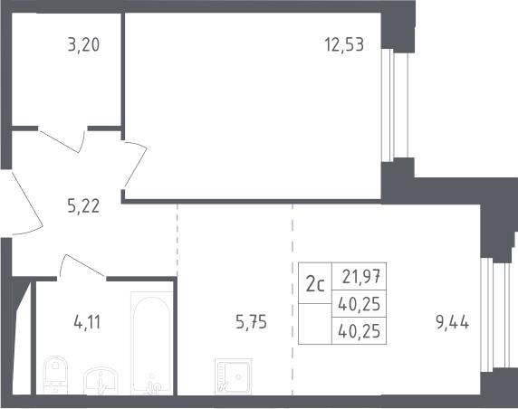 2Е-комнатная, 40.25 м²– 2