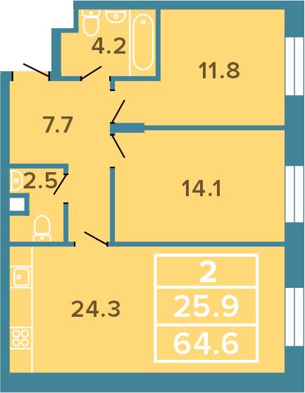 3-к.кв (евро), 64.6 м²