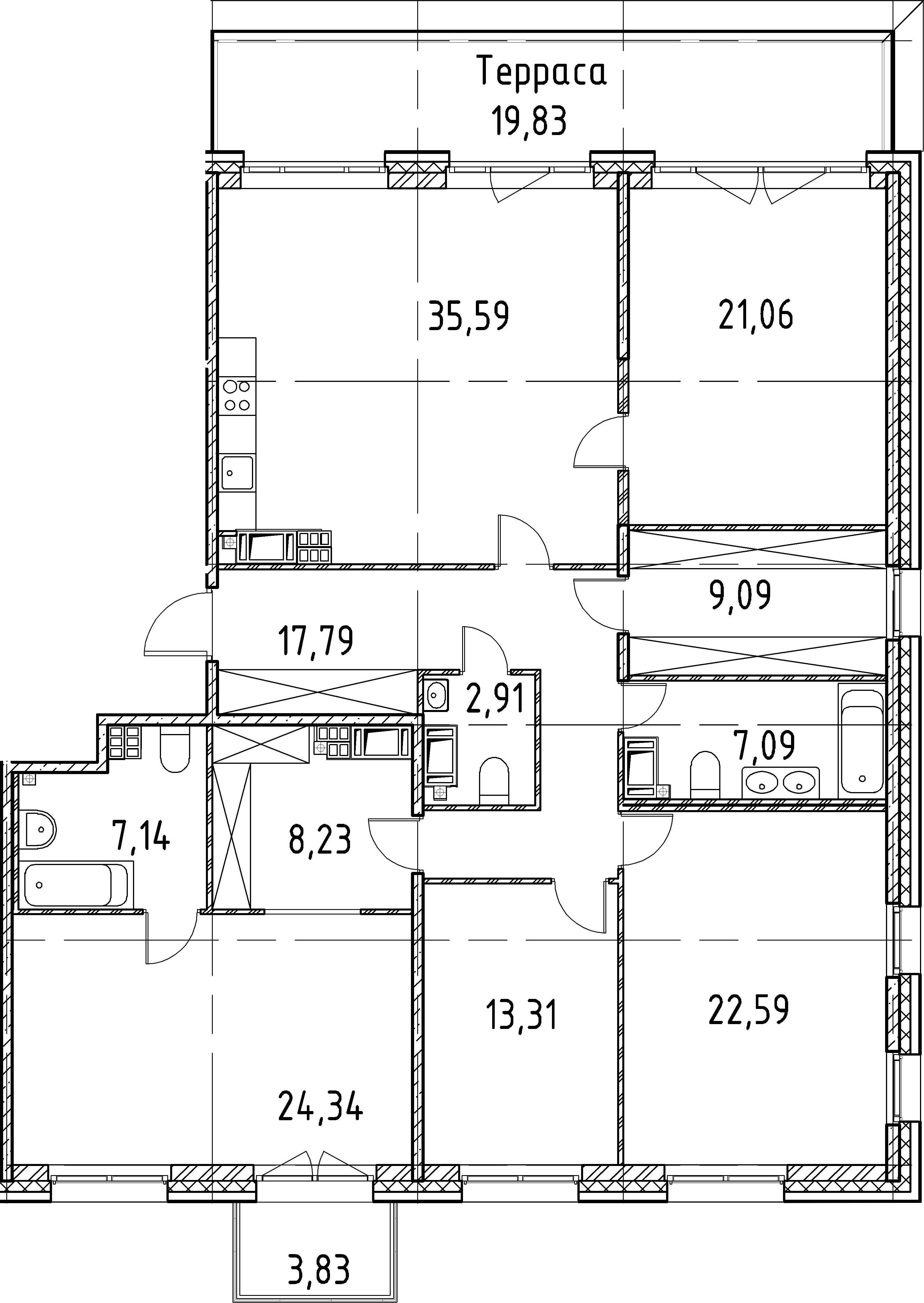 4-комнатная, 169.14 м²– 2