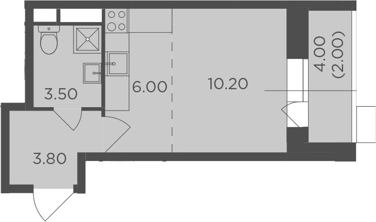 Студия, 25.5 м², от 4 этажа